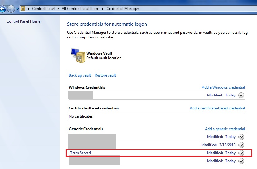 How to not allow generic credentials under credential